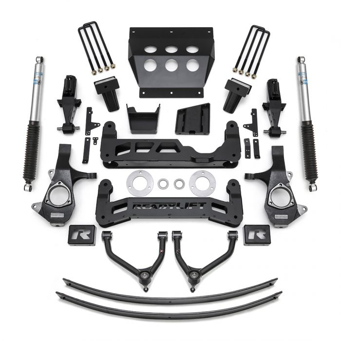 "Deconstructed chevy truck suspension. Shows complete 9"" suspension lift kit."